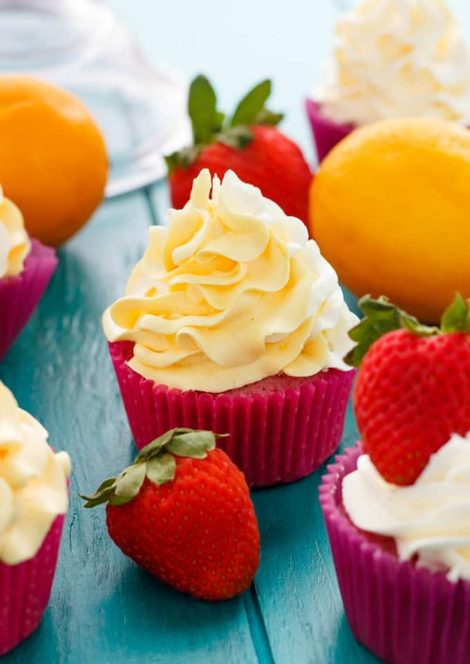 Strawberry Cupcakes with Lemon Swiss Meringue Buttercream #cupcakes