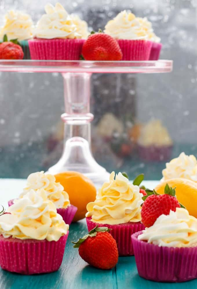 Strawberry Cupcakes with Lemon Swiss Meringue Buttercream #dessert