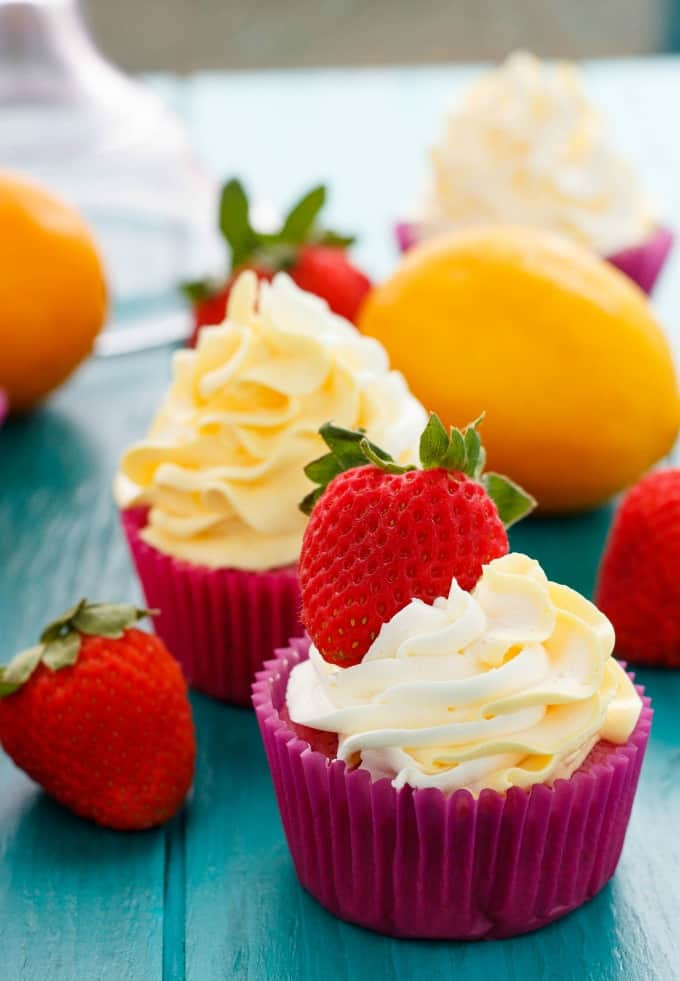 Strawberry Cupcakes with Lemon Swiss Meringue Buttercream #lemon