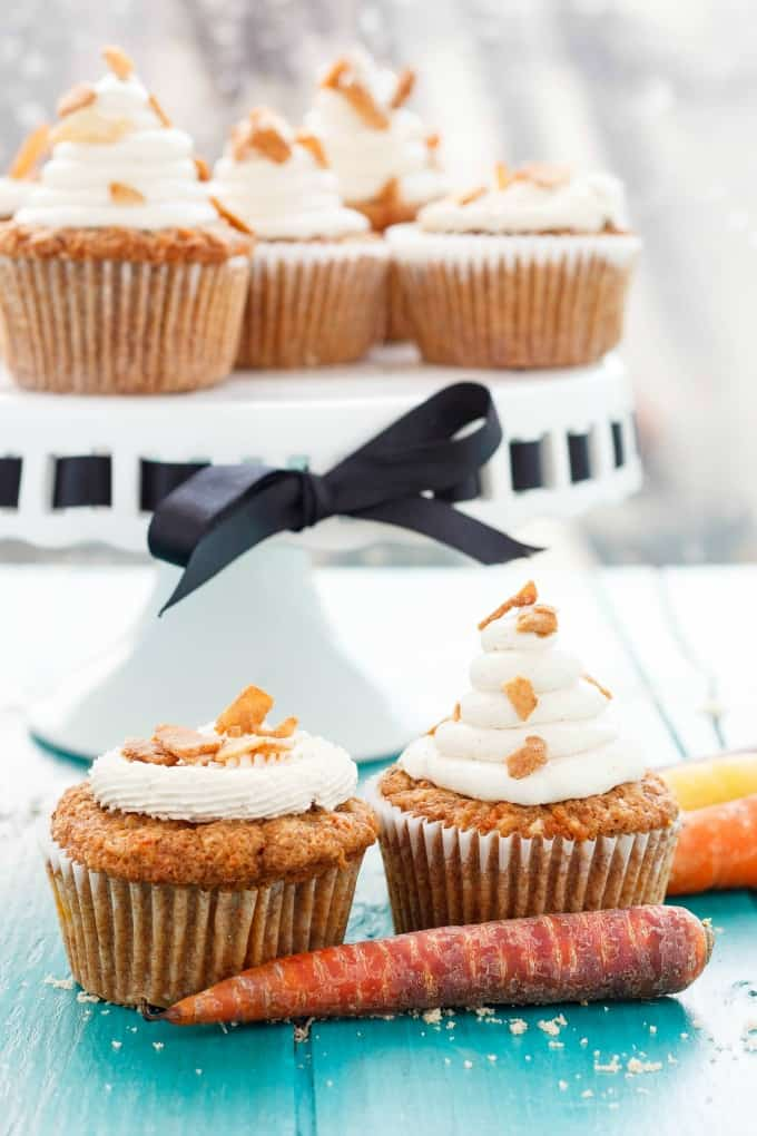 Carrot Cake Cupcakes with Brown Sugar Swiss Meringue Buttercream #cupcakes