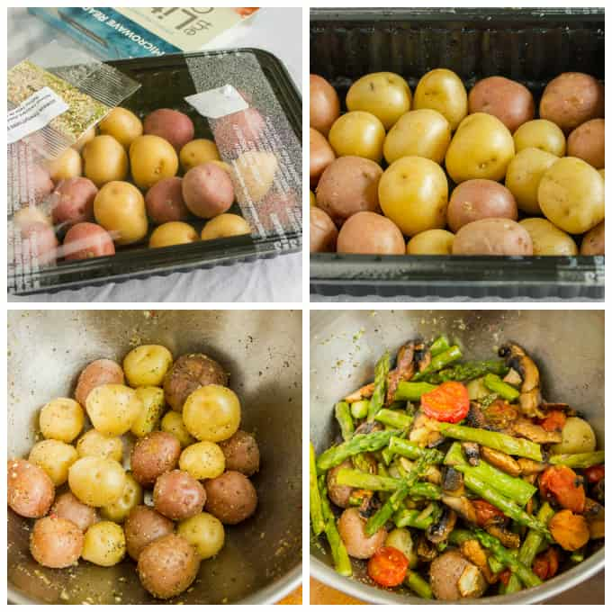 Easy Creamer Potatoes with Roasted Vegetables (Microwave Ready) 2