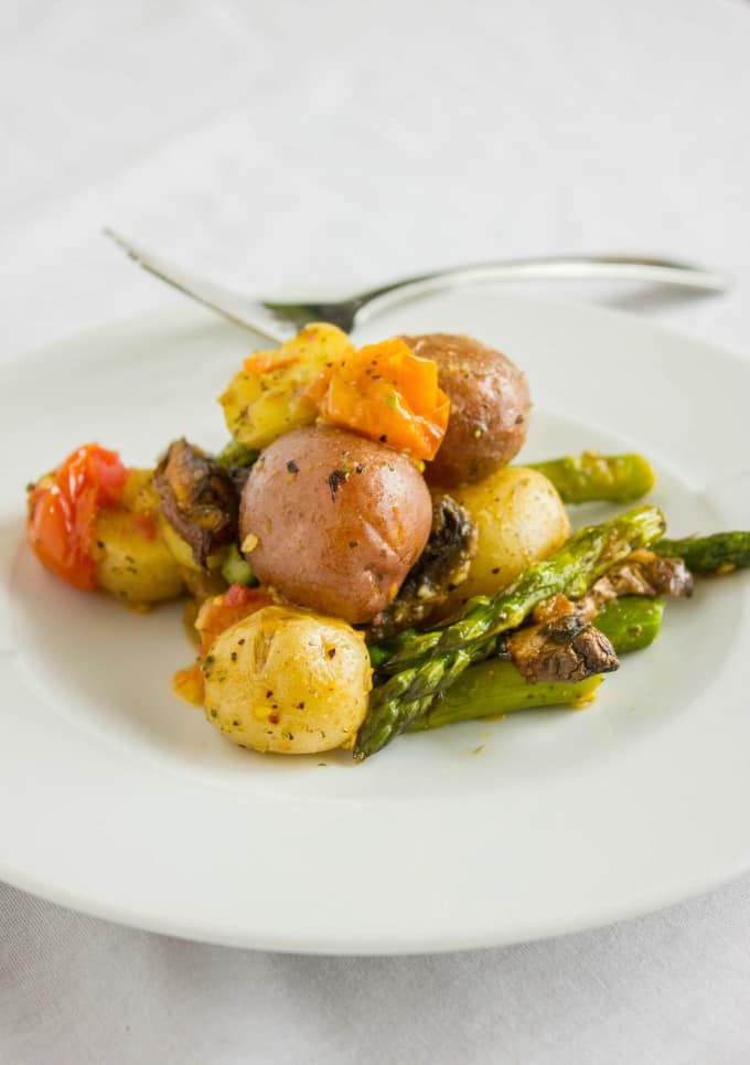 Easy Creamer Potatoes with Roasted Vegetables (Microwave Ready) 6