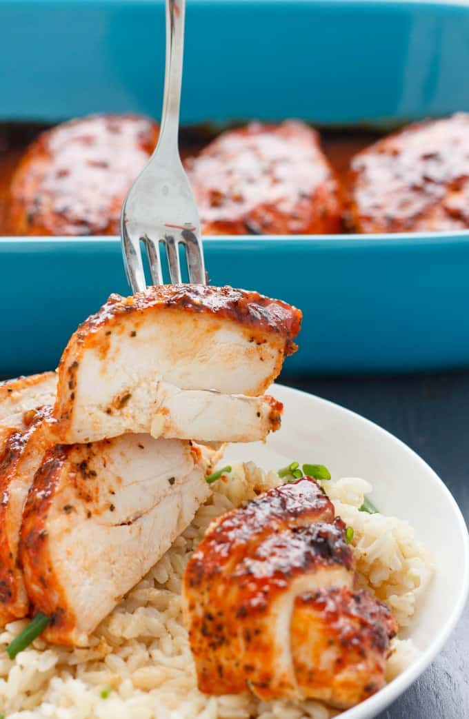 Comforting, and yet not too spicy (my 4 year old loved this!) these sweet sriracha chicken breasts are perfect for a quick, weeknight meal!