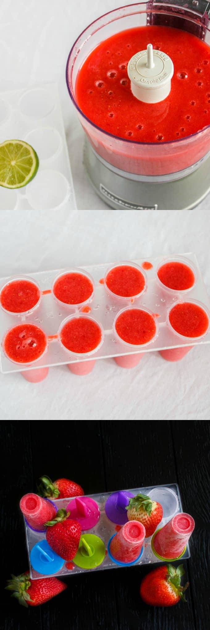 Strawberry Sorbet Popsicles 1