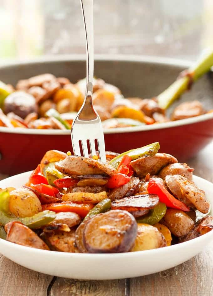 Breakfast Throw-Together Creamer Potatoes with Sausage and Peppers #sausage