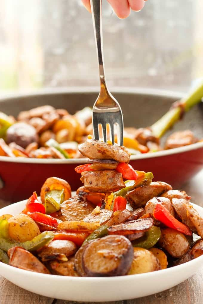 Breakfast Throw-Together Creamer Potatoes with Sausage and Peppers