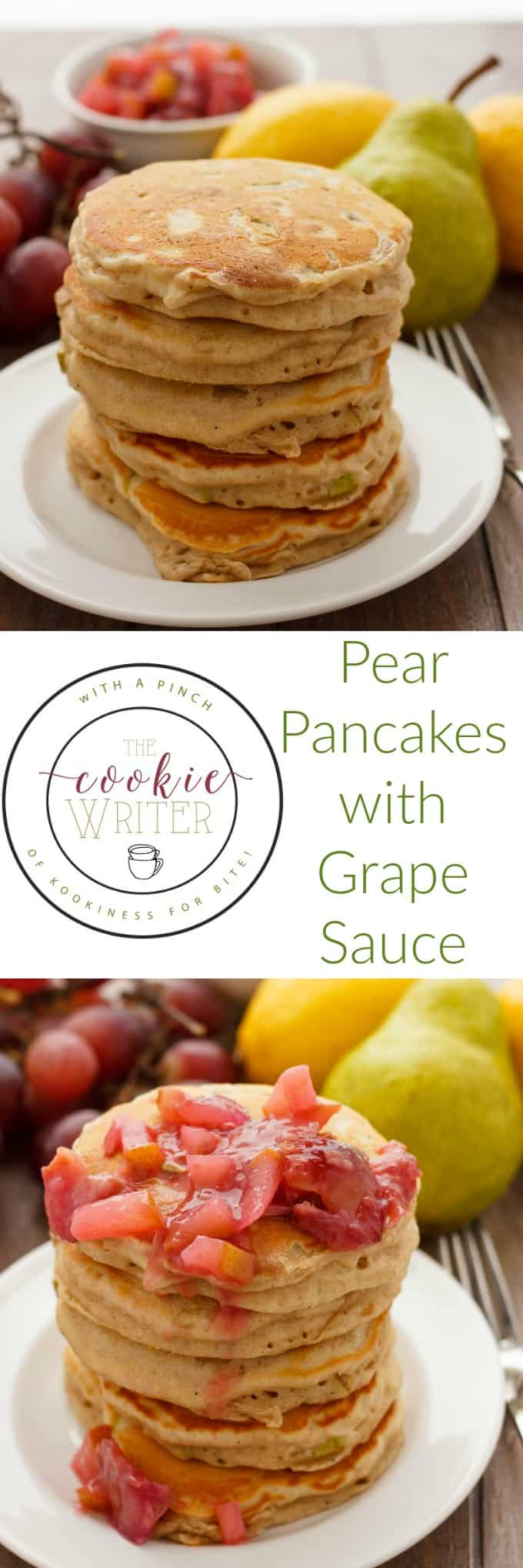 Pear Pancakes with Grape Sauce #pancakes