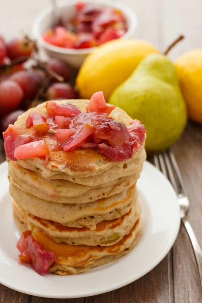 Pear Pancakes with Grape Sauce #pear #pancakes