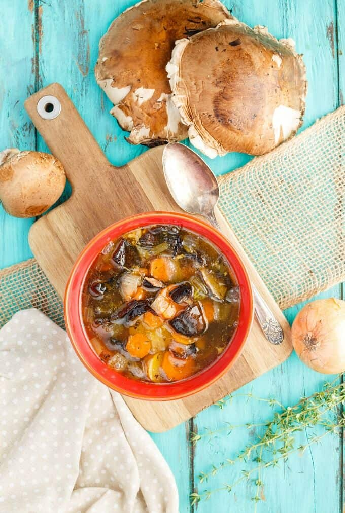 Portobello Mushroom Soup with Homemade Chicken Stock