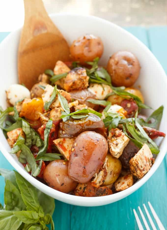 Roasted Potato and Chicken Caprese Salad #cheese