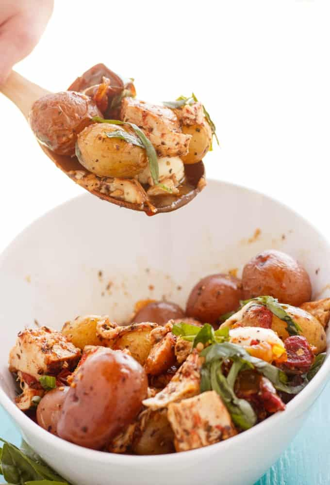 Roasted Potato and Chicken Caprese Salad #chicken