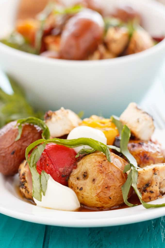 Roasted Potato and Chicken Caprese Salad #salad