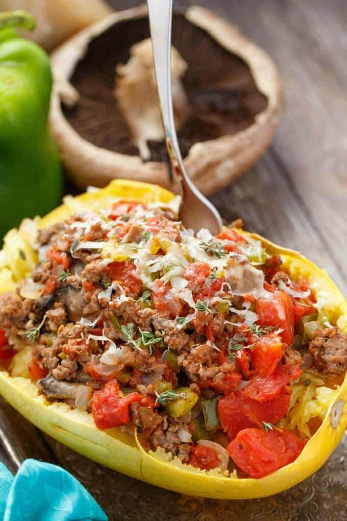 Stuffed spaghetti squash with tomato and ground beef the for What meals can i make with ground beef