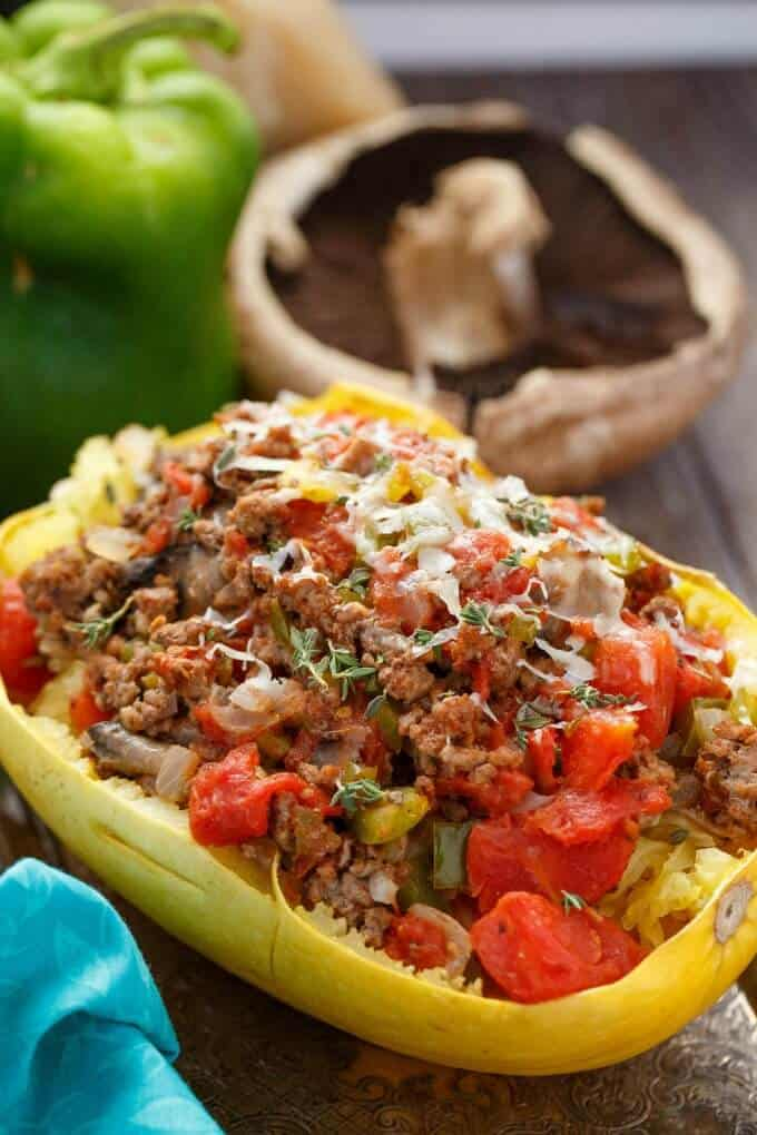 spaghetti squash beef ground recipes meat stuffed tomato carb low keto meals recipe tomatoes dinner writer cookie meal chili phase