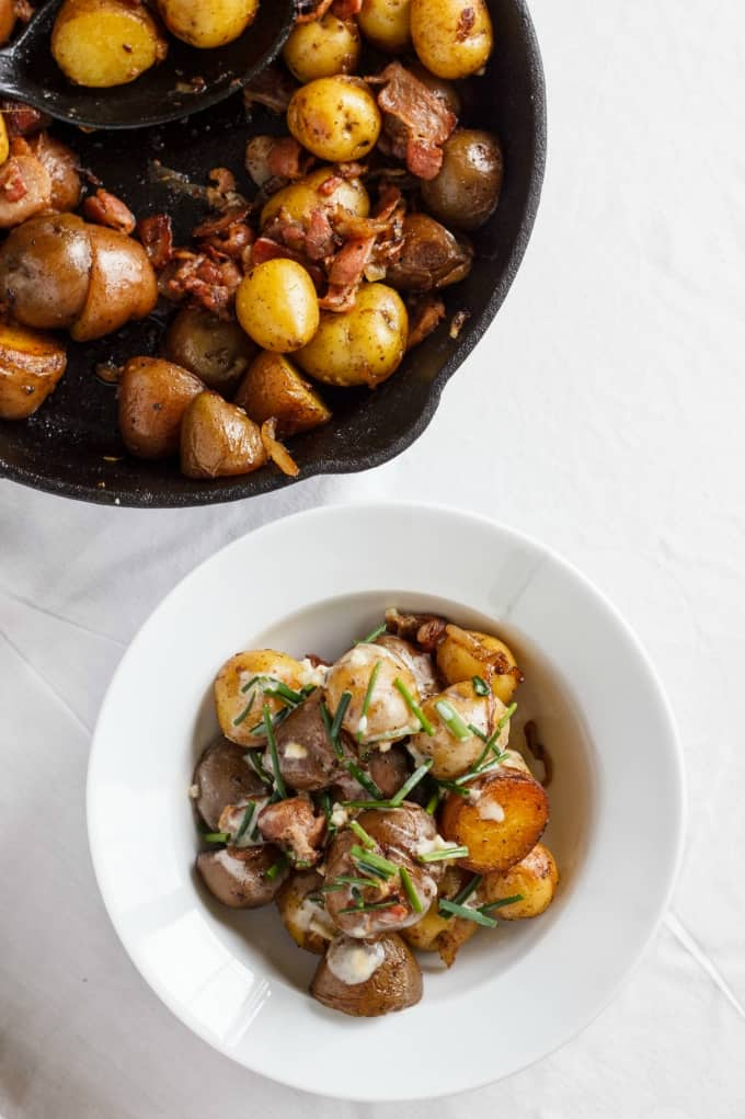 Pan-Fried Creamer Potatoes and Bacon with a Yogurt-Chive Sauce 5