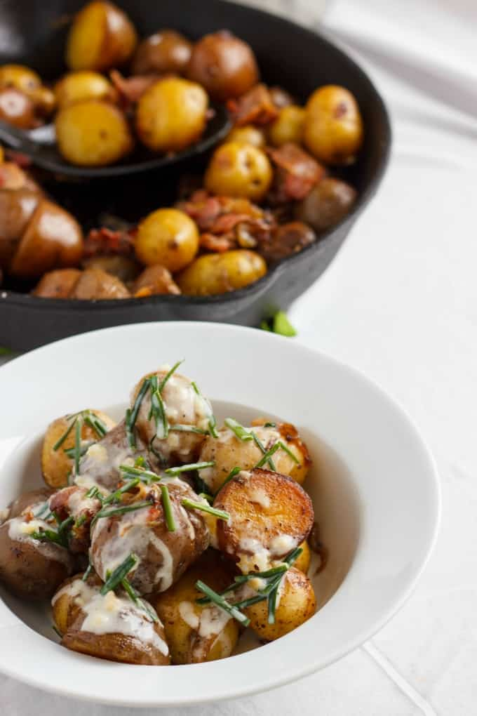 Pan-Fried Creamer Potatoes and Bacon with a Yogurt-Chive Sauce 6