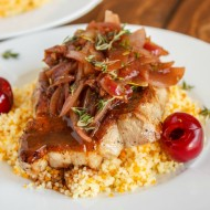 Pan-Fried Pork Chops with a Cherry and Onion Sauce