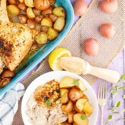 One-Pan Lemon Chicken Leg Quarters with Creamer Potatoes
