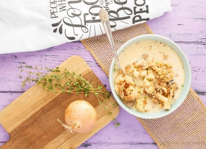 Roasted Cauliflower Chicken Soup