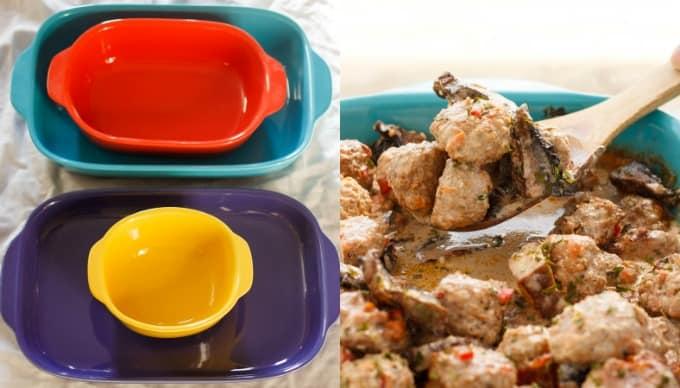 Turkey Meatballs in a Creamy Portobello Mushroom Sauce #corningware