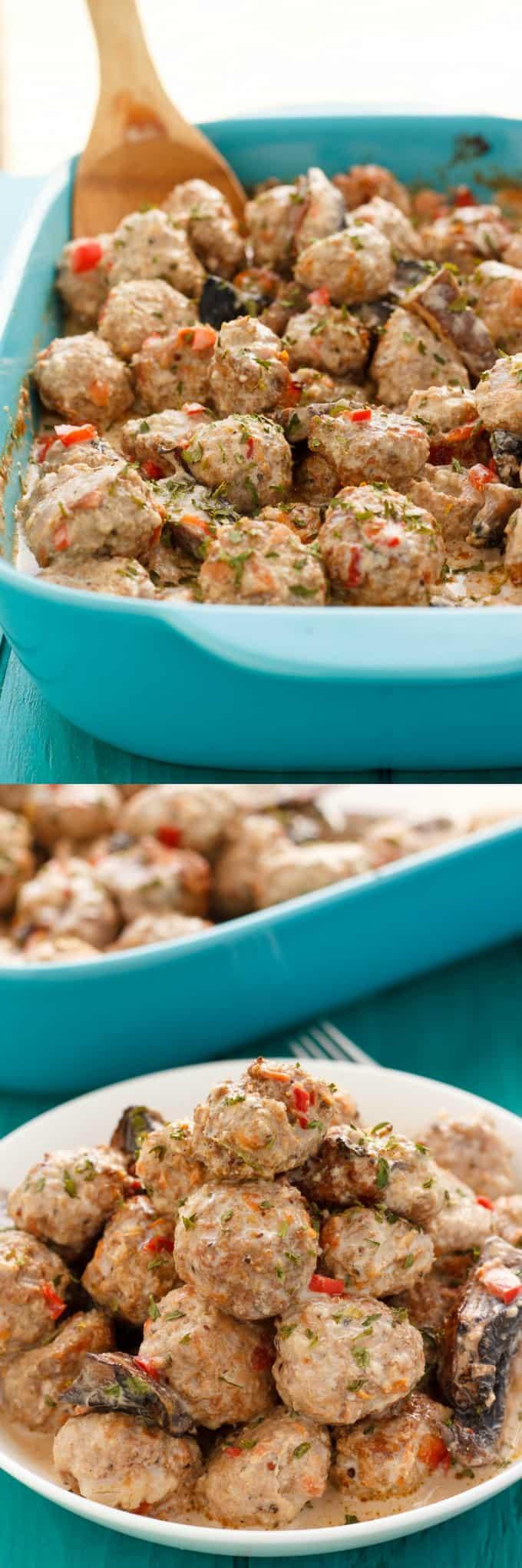Turkey Meatballs in a Creamy Portobello Mushroom Sauce #turkey