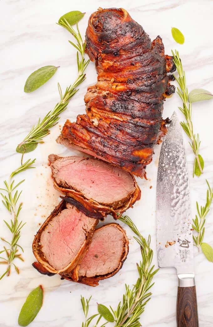 Bacon-Wrapped Balsamic and Rosemary Beef Tenderloin