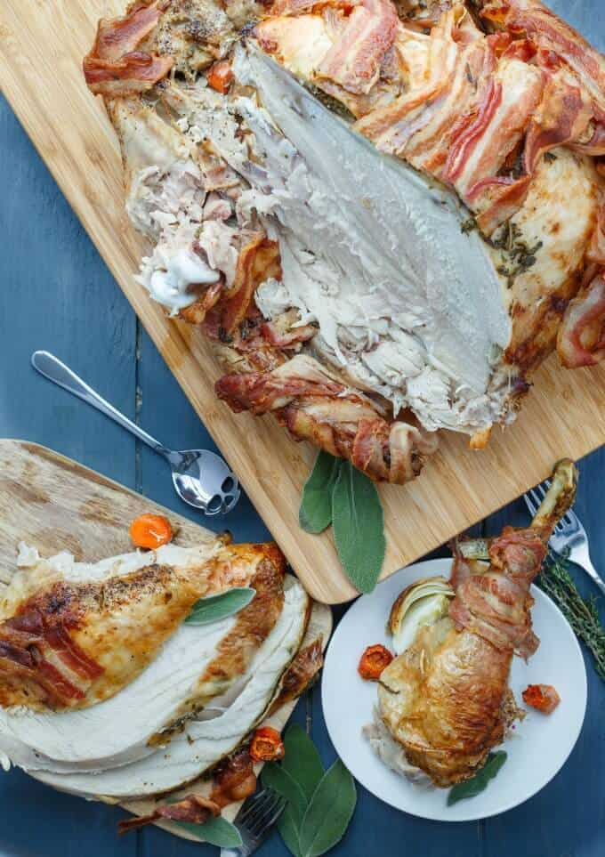 Bacon-Wrapped Whole Turkey with Herb Butter