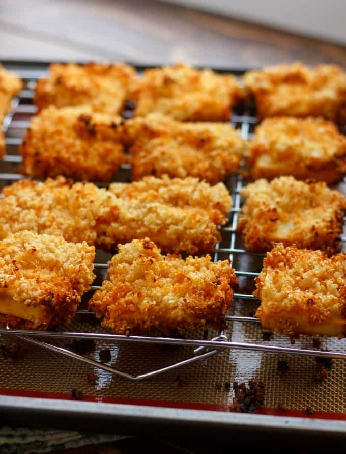 Quinoa Crusted Tofu Nuggets (Tofu Chicken Nuggets!) #quinoa