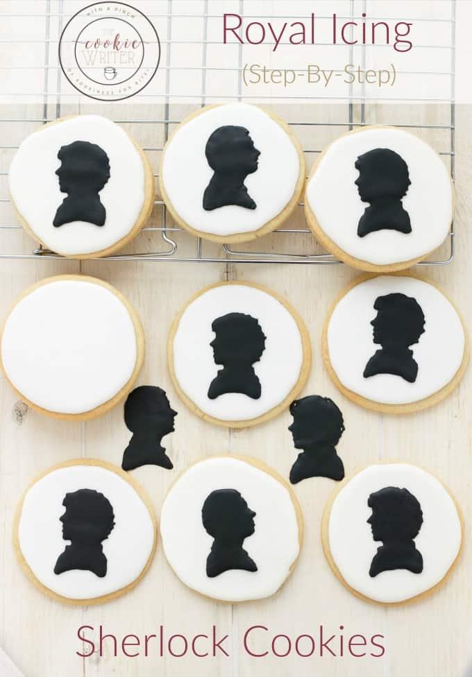 Royal Icing Sherlock Cookies (Cookie Geek #1) #cookies
