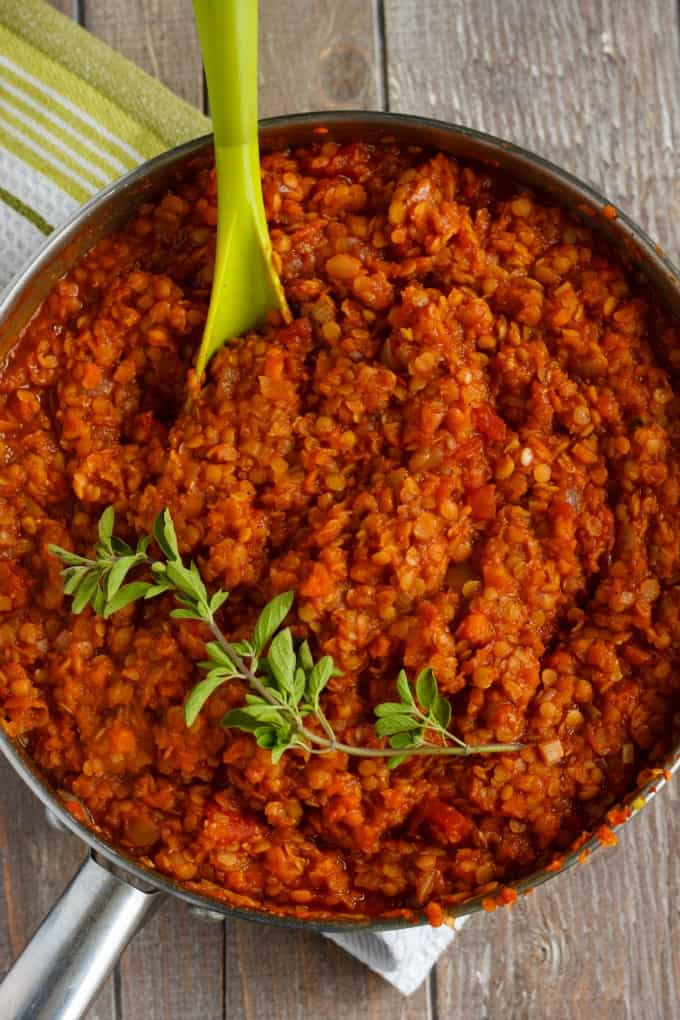 Vegetarian Lentil Bolognese Sauce (Vegan) #vegan