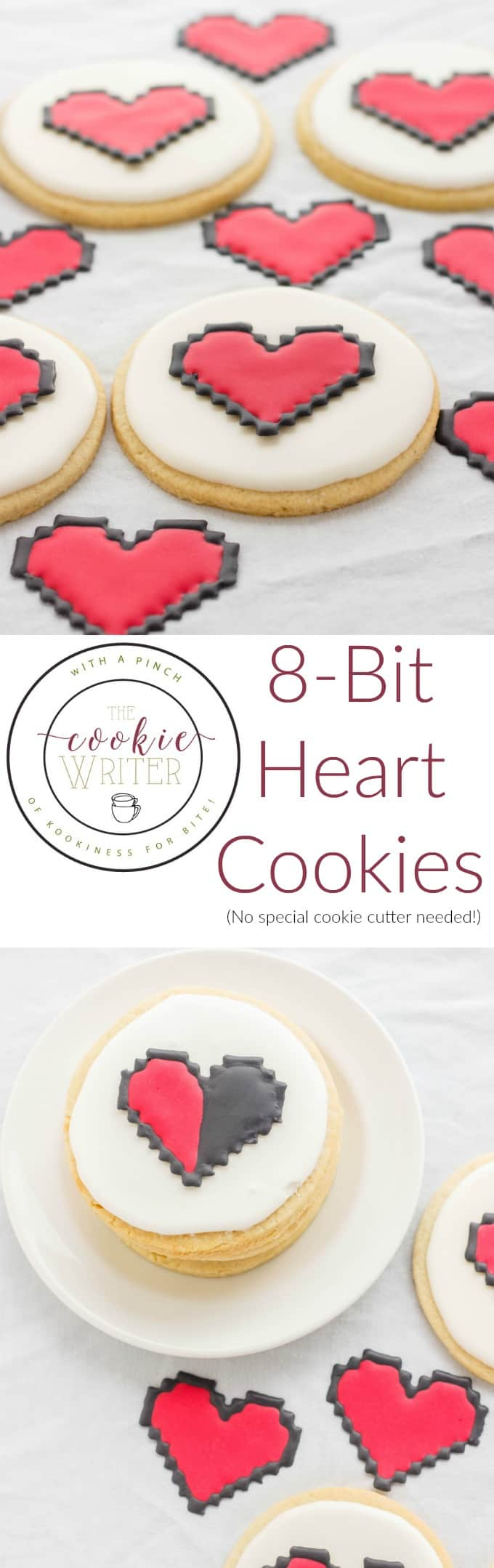 8 Bit Heart Cookies (No Special Cookie Cutter Necessary!) (Cookie Geek #2) #cookies