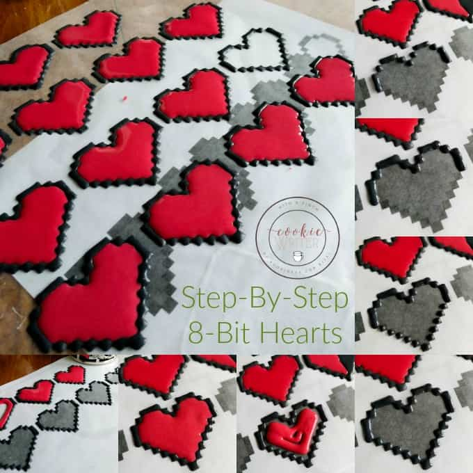 8 Bit Heart Cookies (No Special Cookie Cutter Necessary!) (Cookie Geek #2) #stepbystep