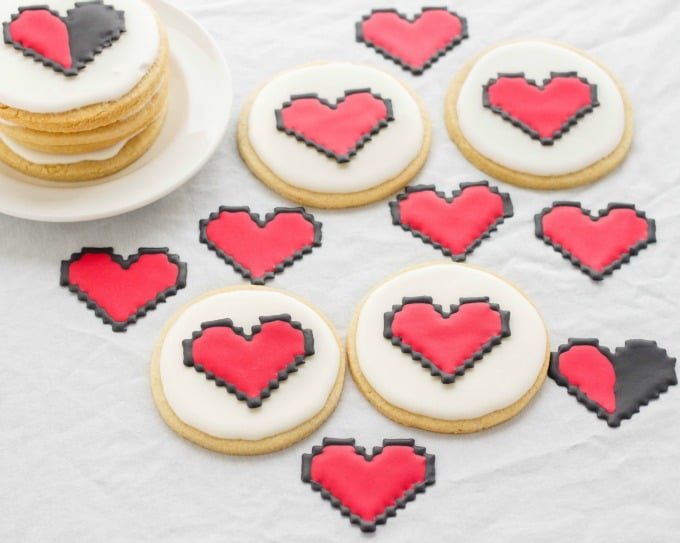 8 Bit Heart Cookies (No Special Cookie Cutter Necessary!) (Cookie Geek #2)