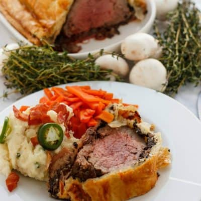 Beef Wellington with Bacon and Button Mushrooms