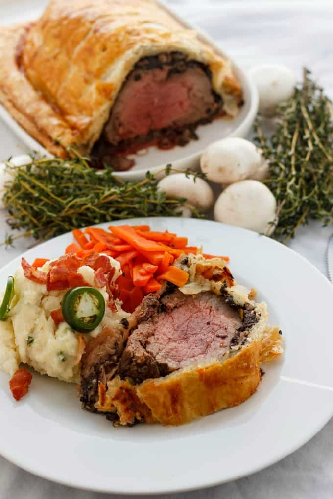 Beef Wellington with Bacon and Button Mushrooms #dinner