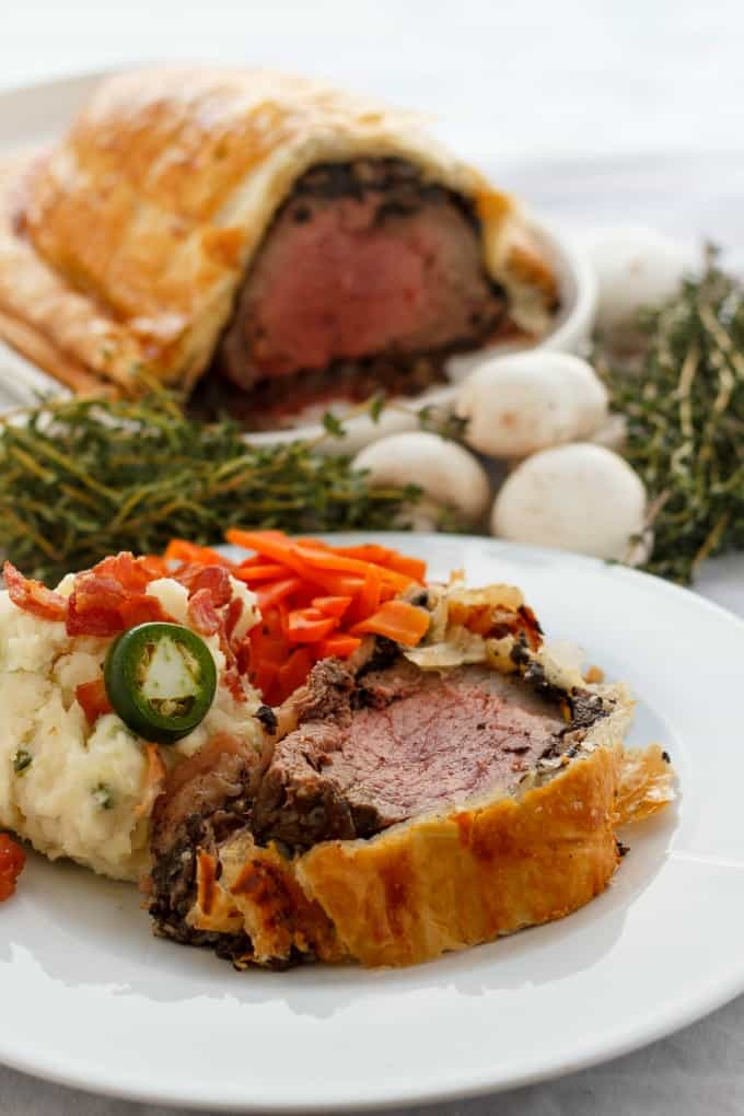 Beef Wellington with Bacon and Button Mushrooms #gourmet