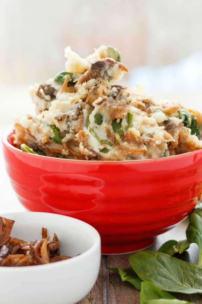 Caramelized Onions and Mushroom Mashed Potatoes #potatoes