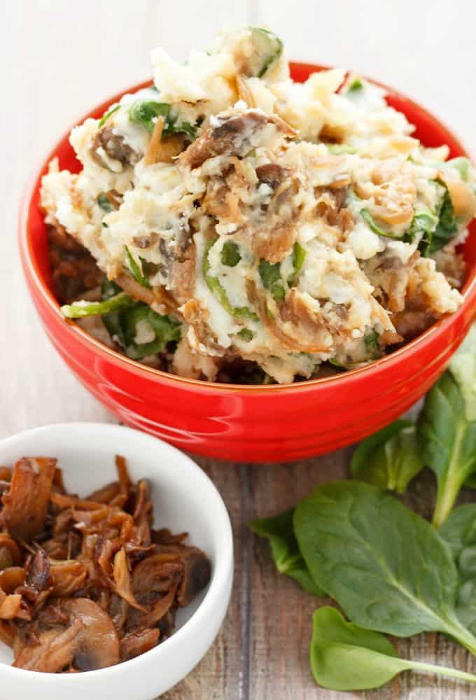 Caramelized Onions and Mushroom Mashed Potatoes #sidedish