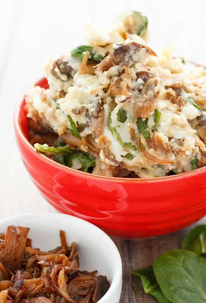 Caramelized Onions and Mushroom Mashed Potatoes #vegetarian