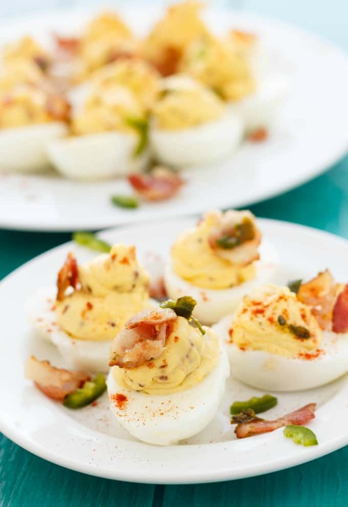 Don't let those painted eggs go to waste when you can make these jalapeno popper deviled eggs! Omit the bacon and you have one awesome vegetarian appetizer.