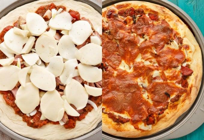 Leftover Ham Pizza #beforeandafter