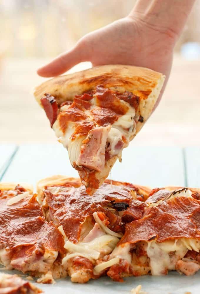 Leftover Ham Pizza #pizza