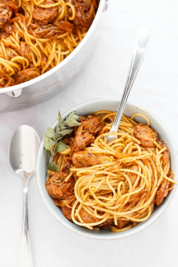 Dry Herb Sausage Spaghetti #pasta