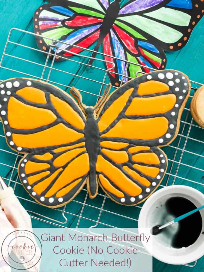 A fun and exciting project that can be completed with your child, this giant monarch butterfly cookie is made with royal icing and no special cookie cutter is required!