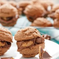 Peanut Butter and Chocolate Stuffed Cookie Sandwiches