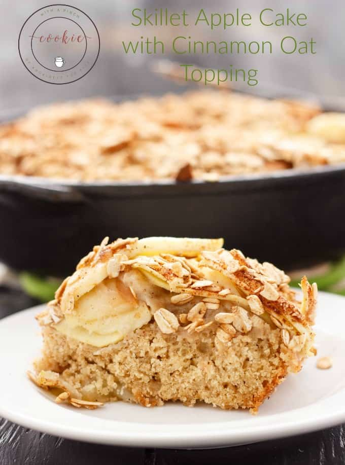 A cake made in a cast iron pan?! Say yes with this skillet apple cake with cinnamon oat topping for Mother's Day (or any occasion!) #cake