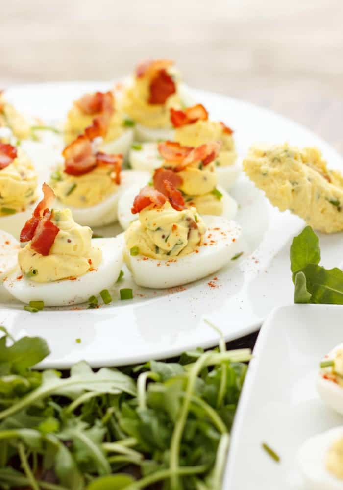 Sour Cream, Chive, and Bacon Deviled Eggs #Easter