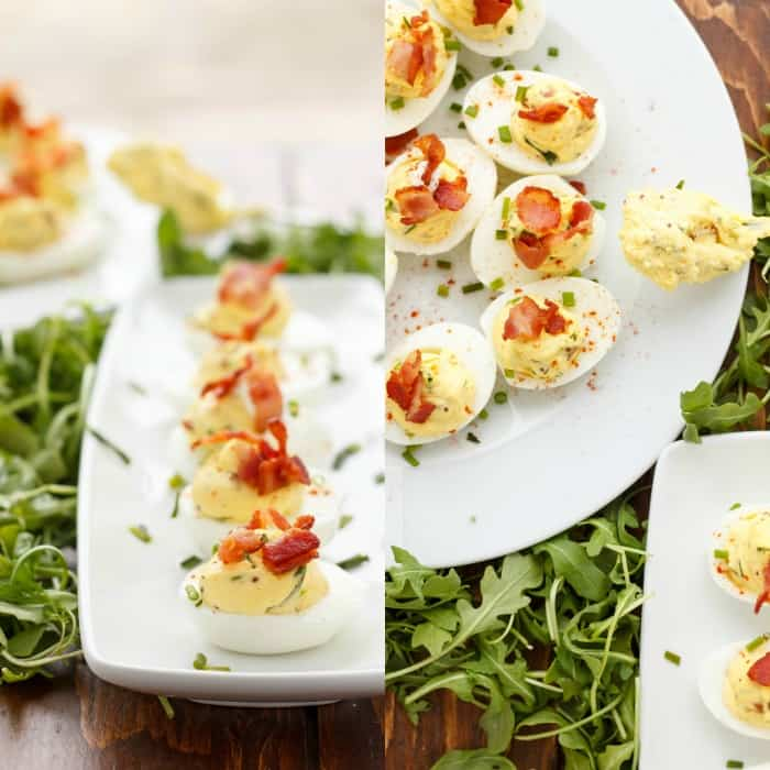 Sour Cream, Chive, and Bacon Deviled Eggs #appetizer