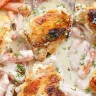 Sour Cream Dill Chicken Thighs with Baby Carrots