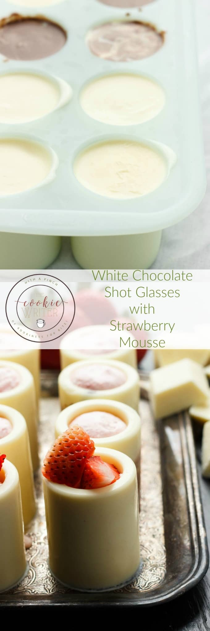 White Chocolate Shot Glasses with Strawberry Mousse